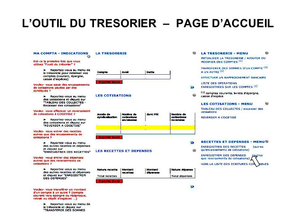L'OUTIL DU TRESORIER – PAGE D'ACCUEIL