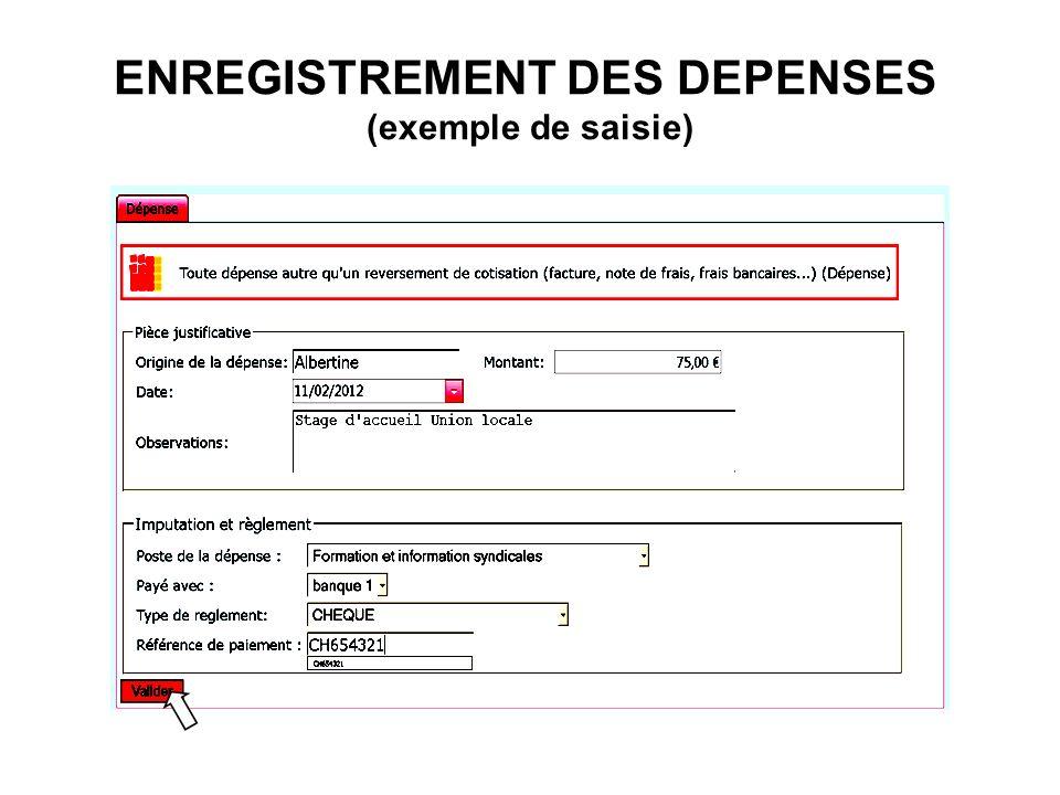 ENREGISTREMENT DES DEPENSES (exemple de saisie)