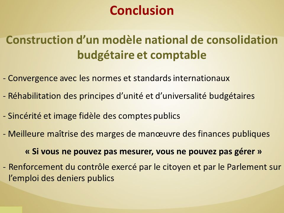 Conclusion Construction d'un modèle national de consolidation
