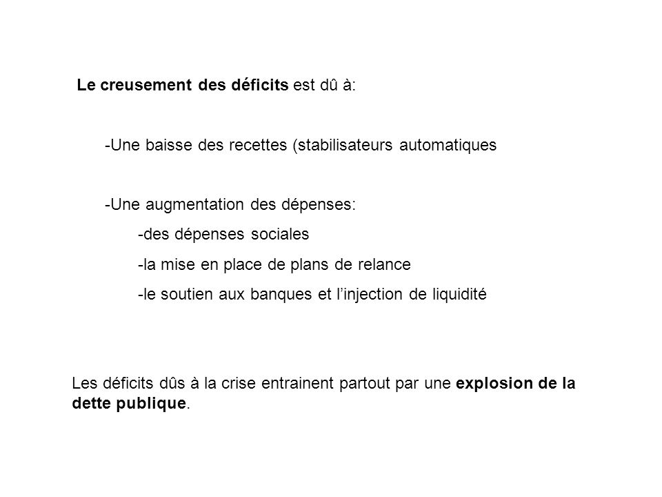 Le creusement des déficits est dû à: