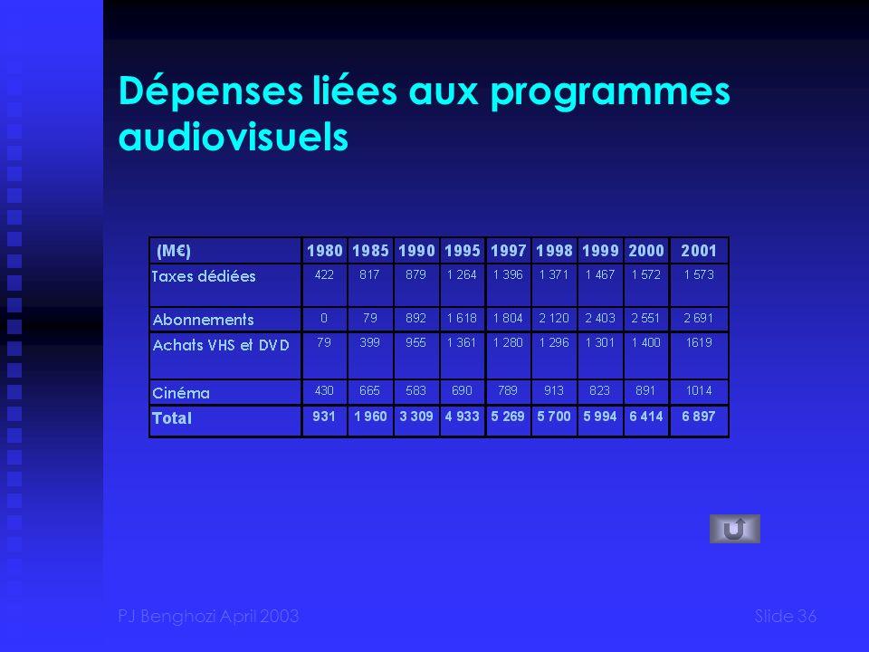 Dépenses liées aux programmes audiovisuels