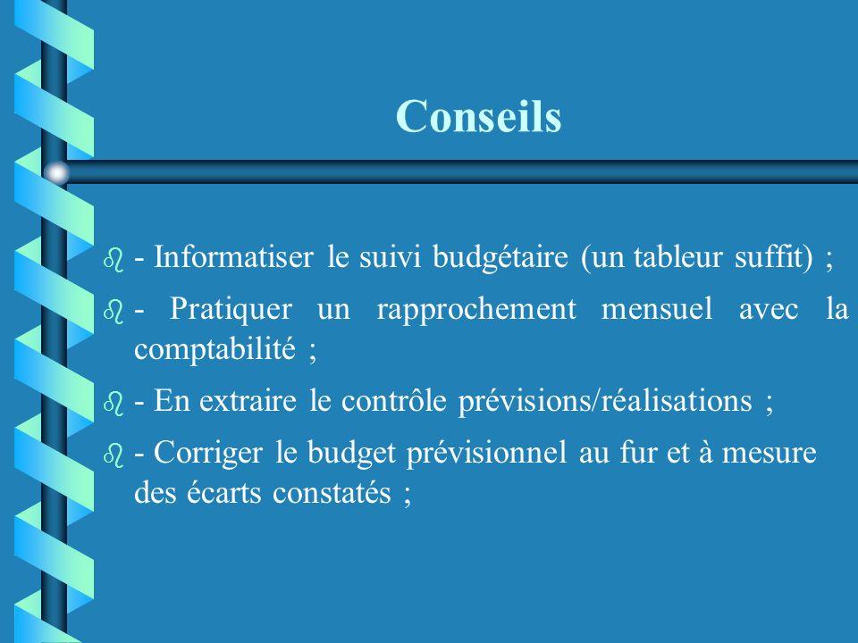 Conseils - Informatiser le suivi budgétaire (un tableur suffit) ;
