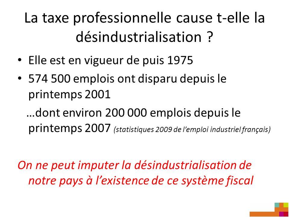 La taxe professionnelle cause t-elle la désindustrialisation