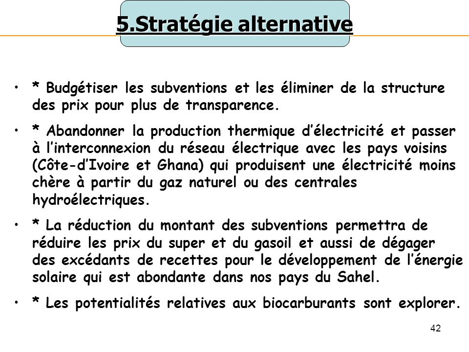 5.Stratégie alternative