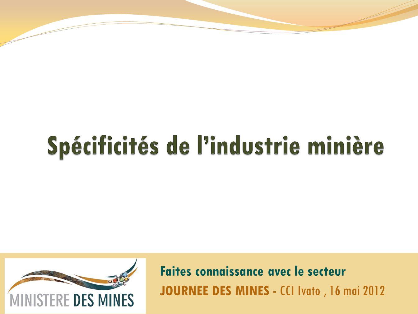 Spécificités de l'industrie minière