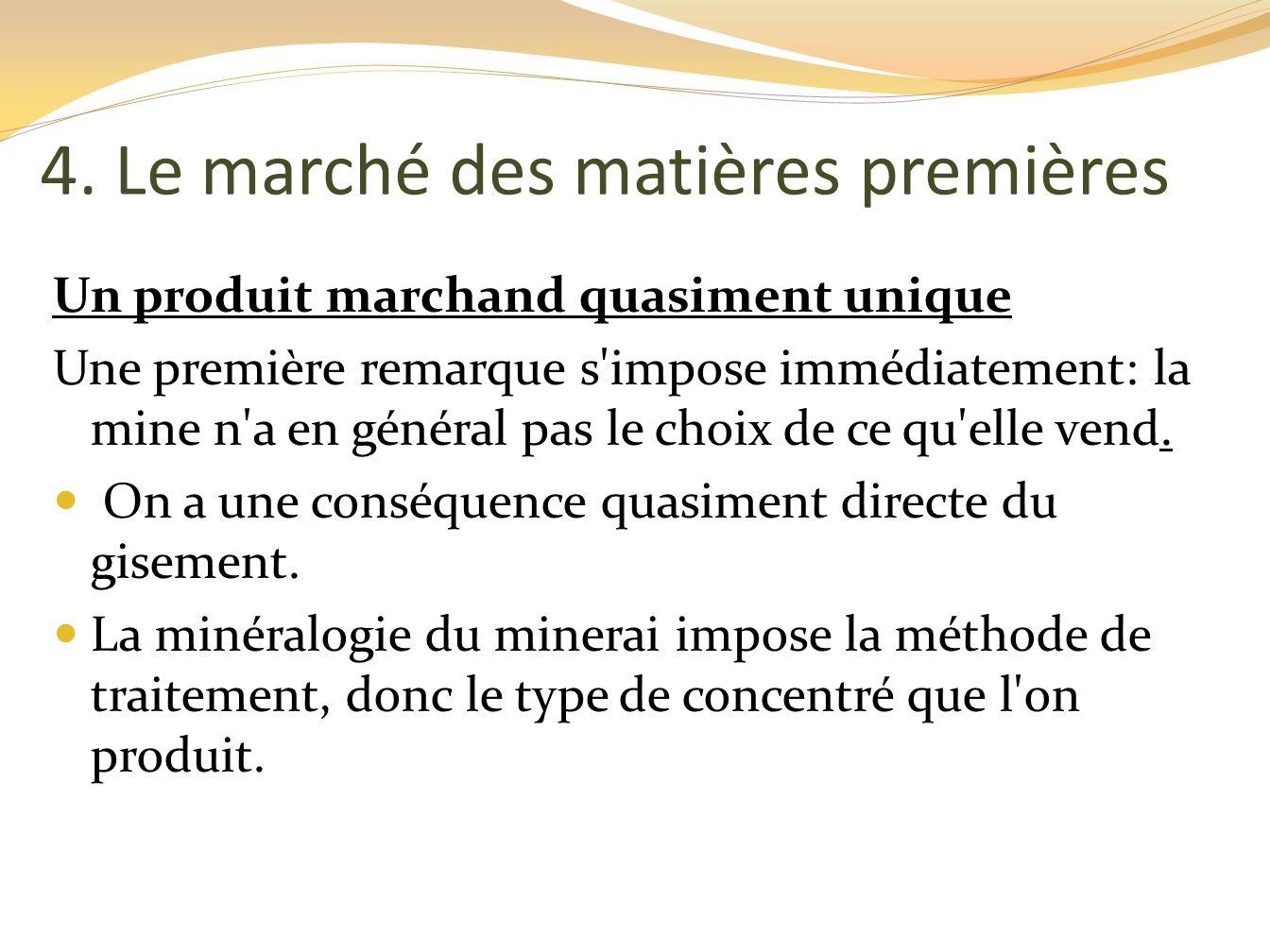 4. Le marché des matières premières