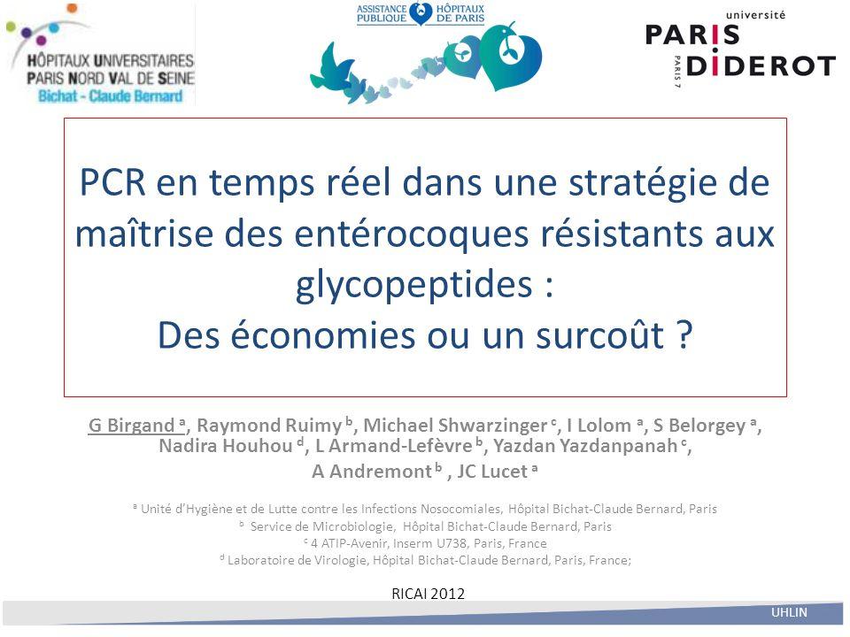 PCR en temps réel dans une stratégie de maîtrise des entérocoques résistants aux glycopeptides : Des économies ou un surcoût