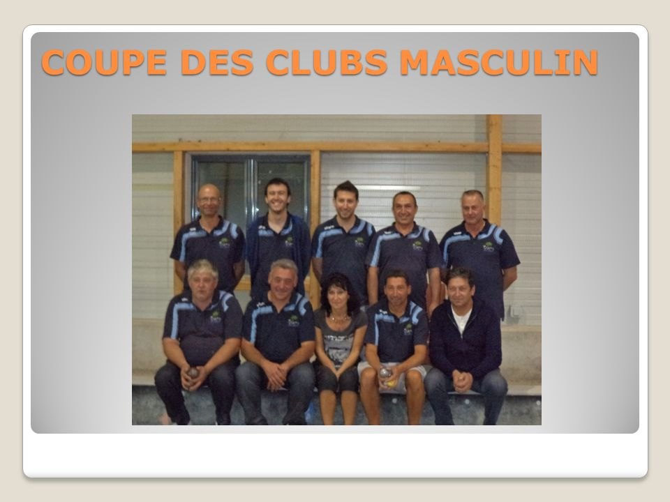 COUPE DES CLUBS MASCULIN