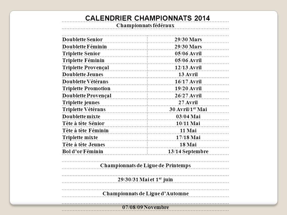 CALENDRIER CHAMPIONNATS 2014