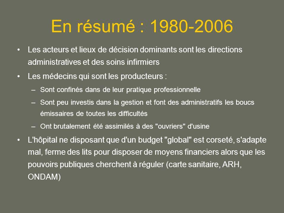 En résumé : 1980-2006 Les acteurs et lieux de décision dominants sont les directions administratives et des soins infirmiers.