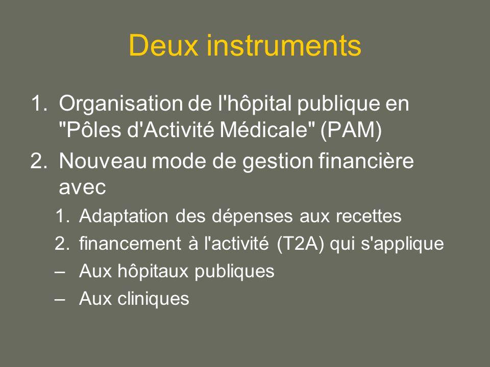 Deux instruments Organisation de l hôpital publique en Pôles d Activité Médicale (PAM) Nouveau mode de gestion financière avec.