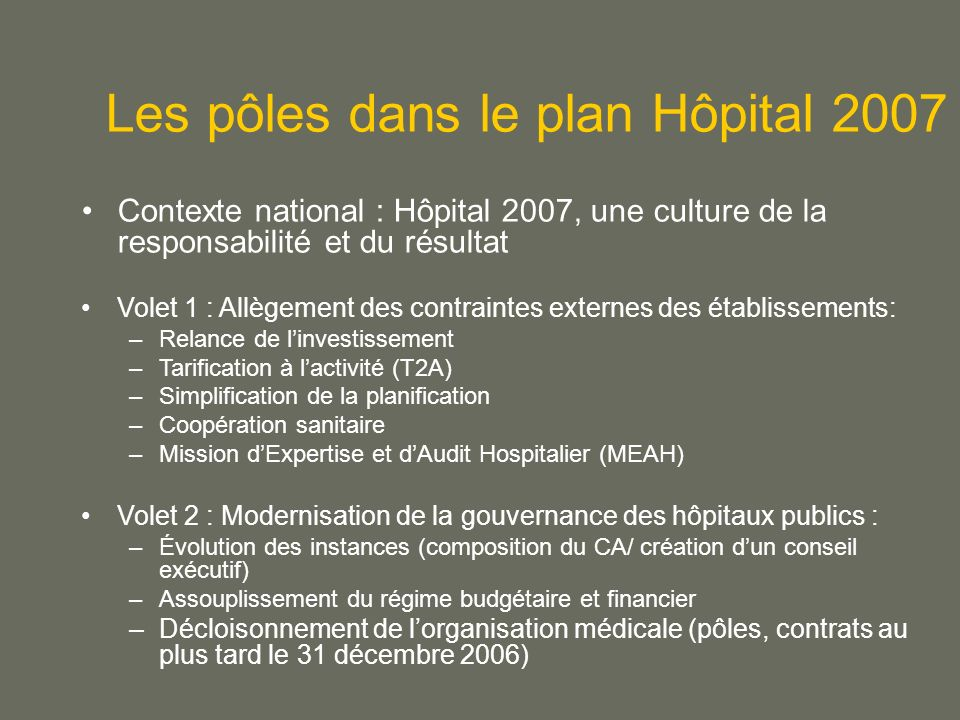 Les pôles dans le plan Hôpital 2007