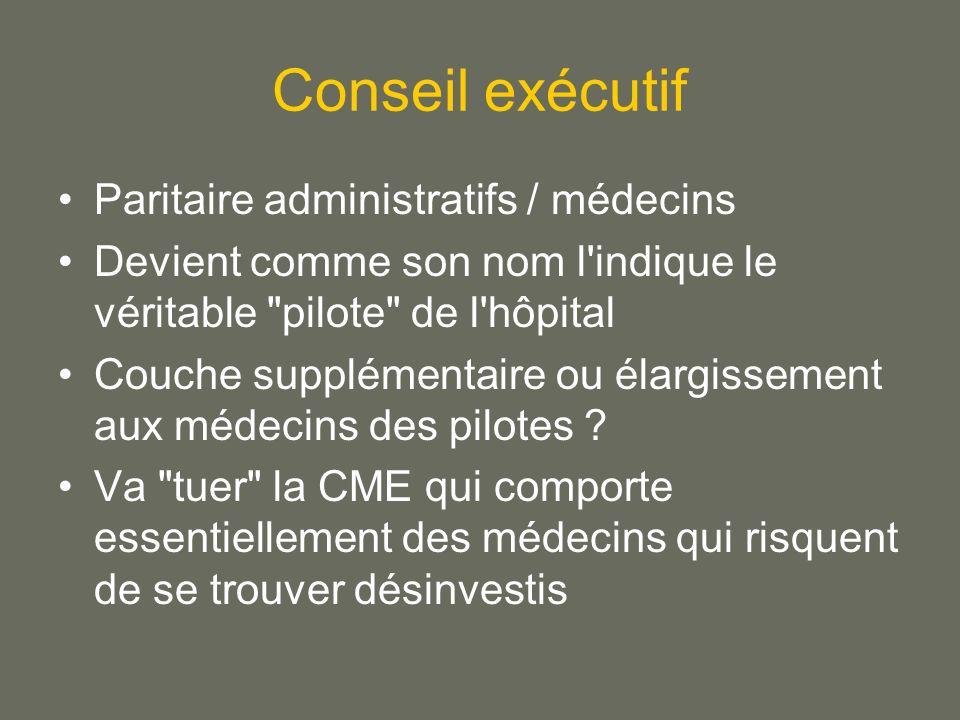 Conseil exécutif Paritaire administratifs / médecins