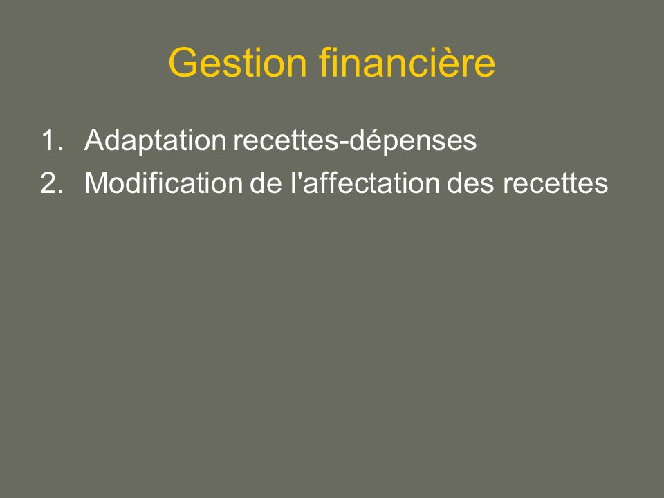 Gestion financière Adaptation recettes-dépenses