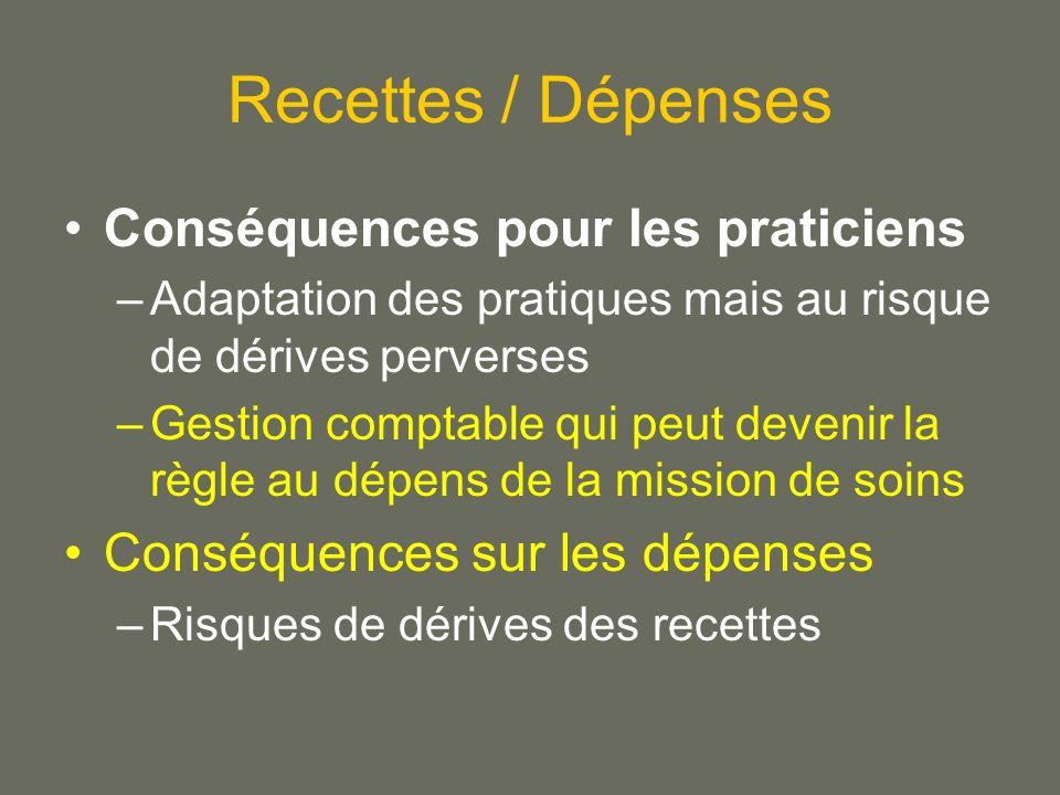 Recettes / Dépenses Conséquences pour les praticiens