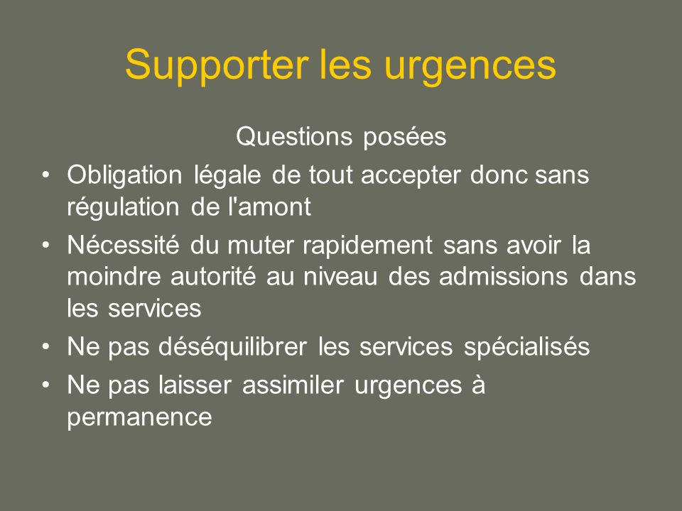 Supporter les urgences