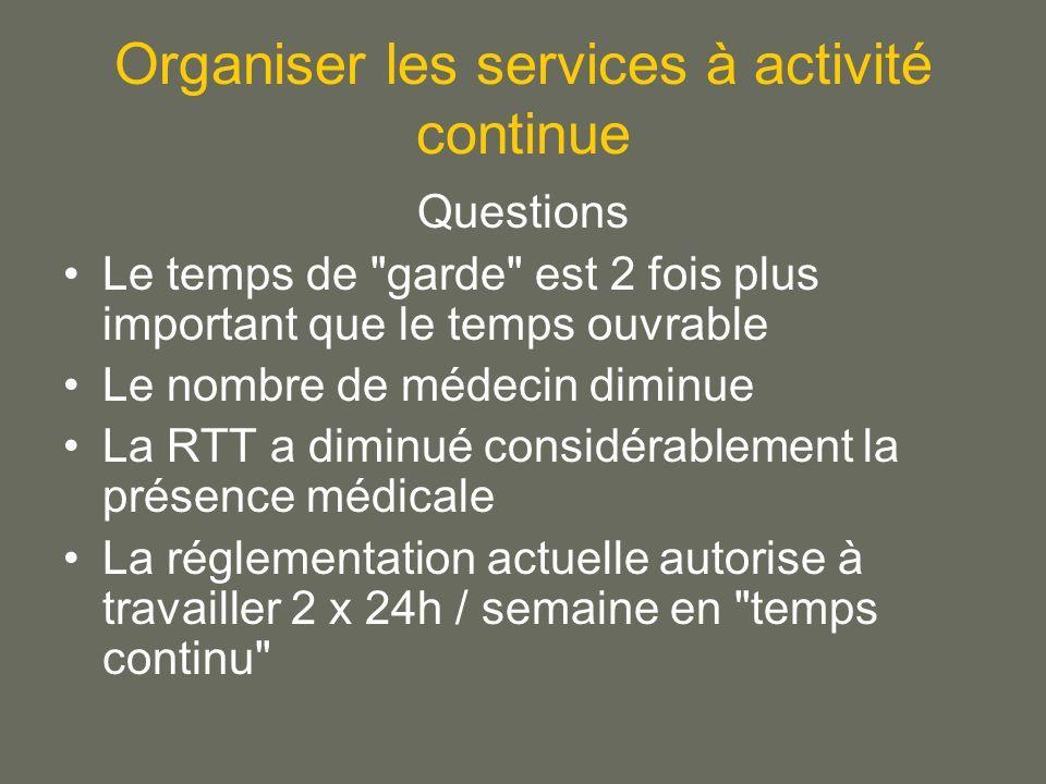 Organiser les services à activité continue