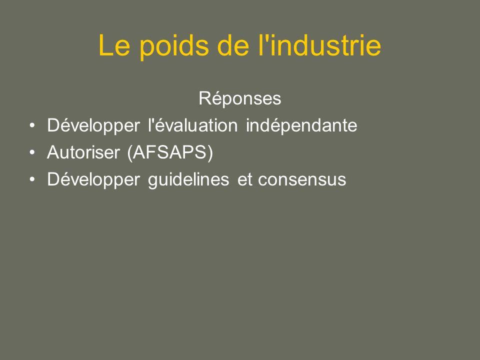 Le poids de l industrie Réponses Développer l évaluation indépendante