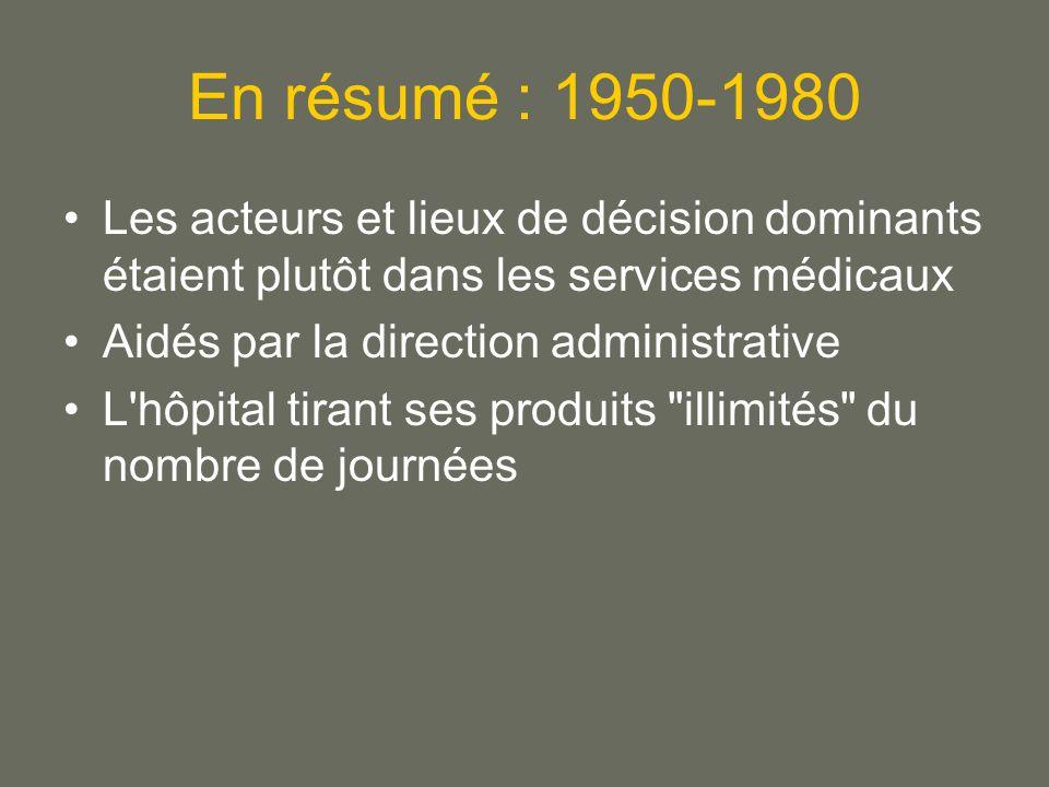 En résumé : 1950-1980 Les acteurs et lieux de décision dominants étaient plutôt dans les services médicaux.