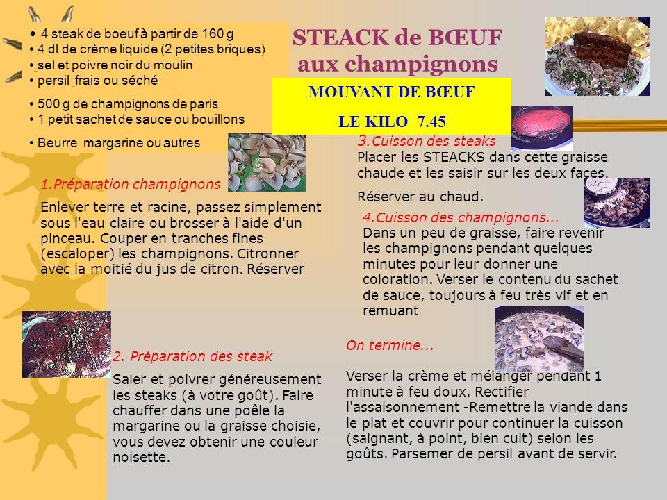 STEACK de BŒUF aux champignons