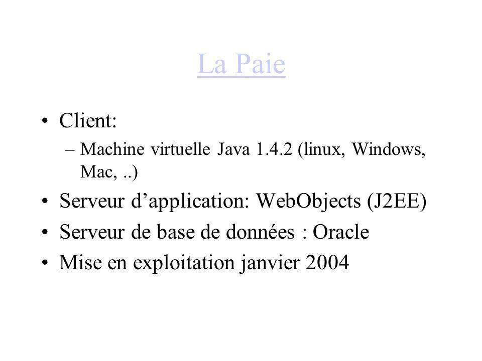La Paie Client: Serveur d'application: WebObjects (J2EE)