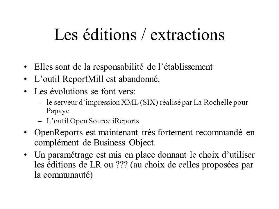 Les éditions / extractions