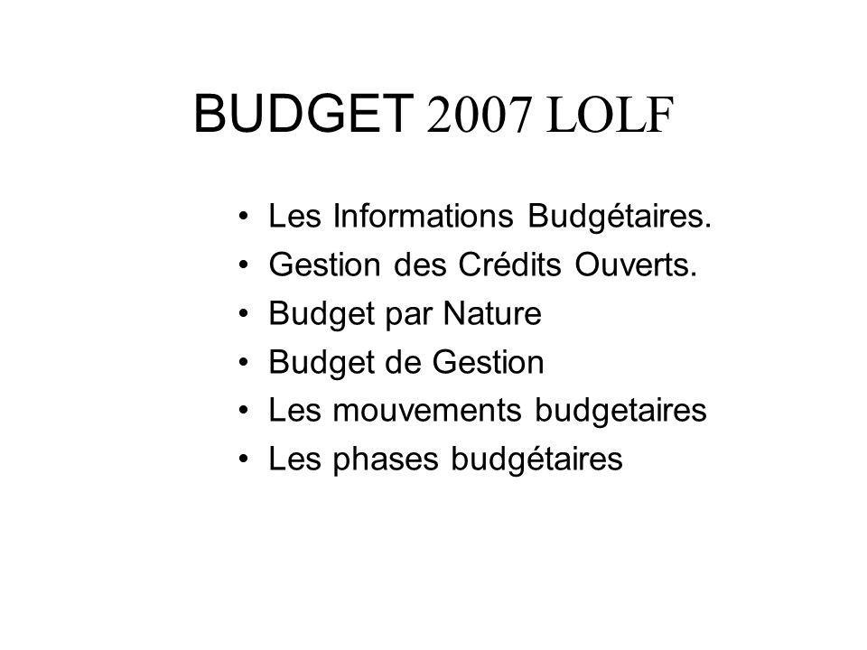 BUDGET 2007 LOLF Les Informations Budgétaires.
