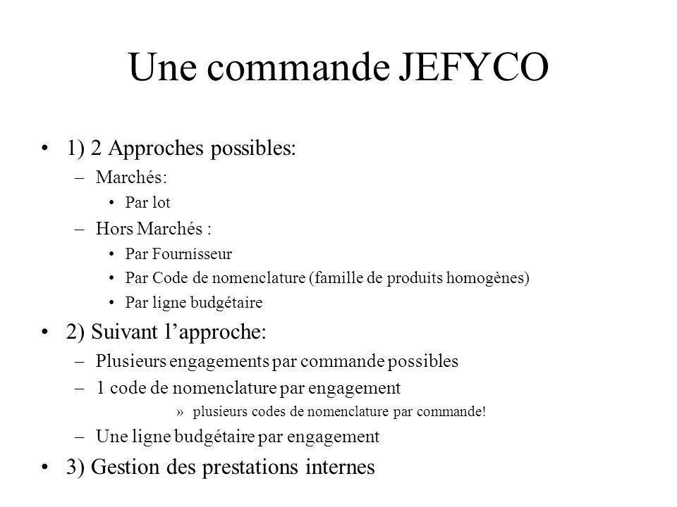 Une commande JEFYCO 1) 2 Approches possibles: 2) Suivant l'approche: