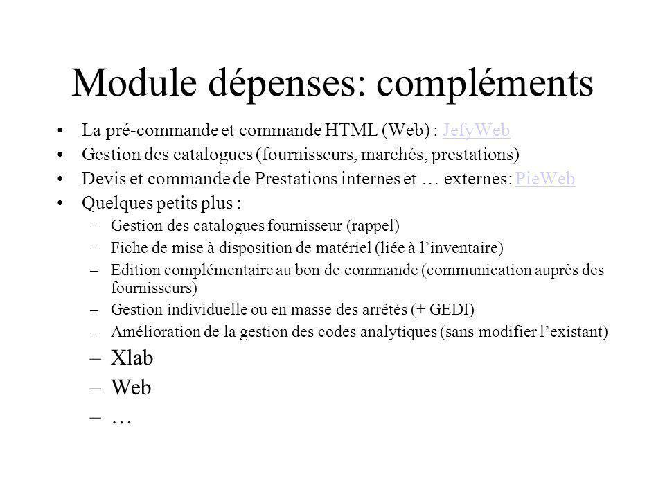 Module dépenses: compléments