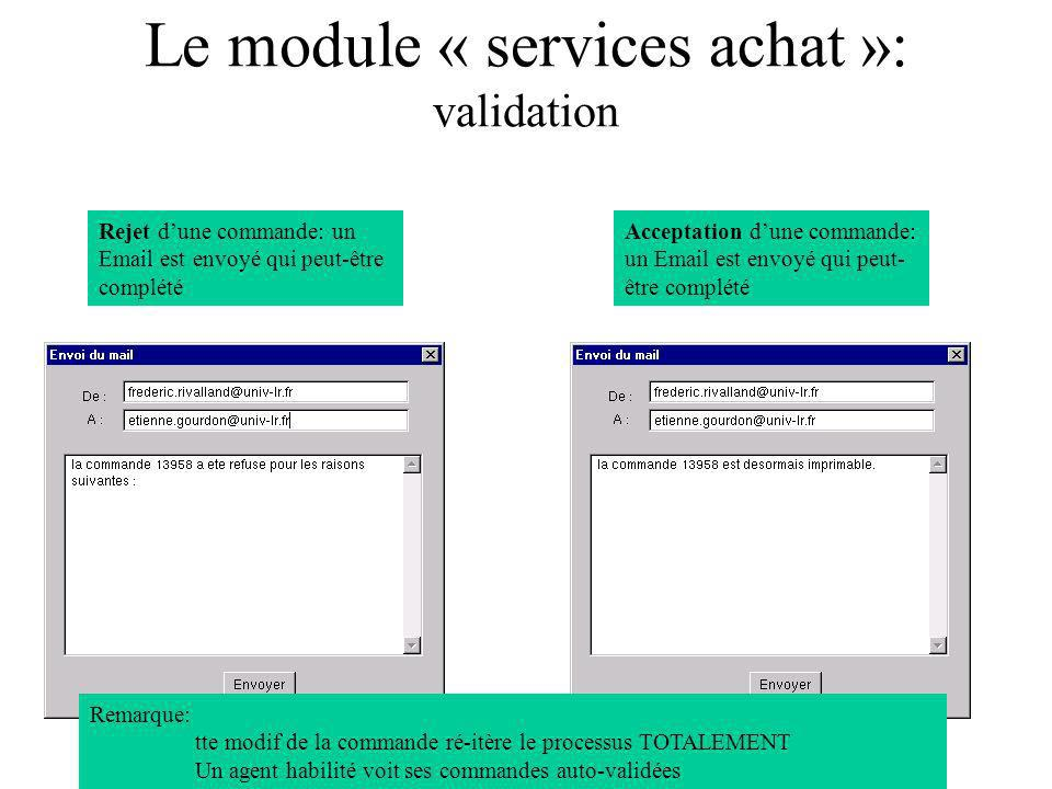 Le module « services achat »: validation