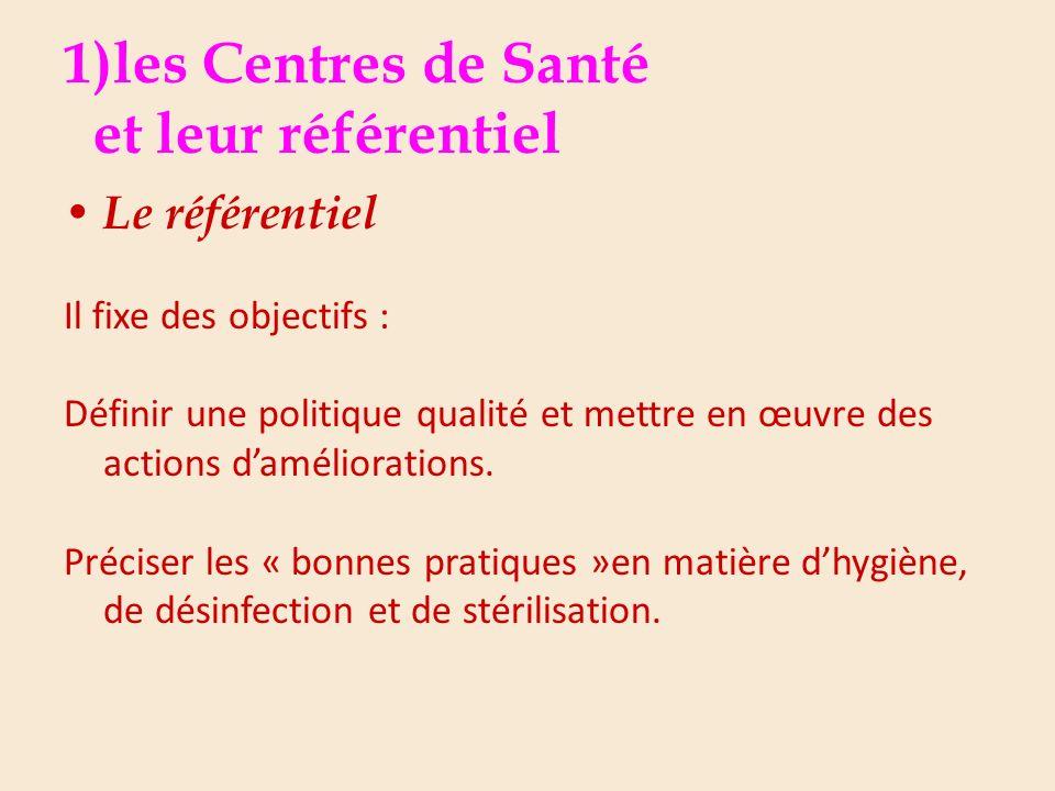 1)les Centres de Santé et leur référentiel