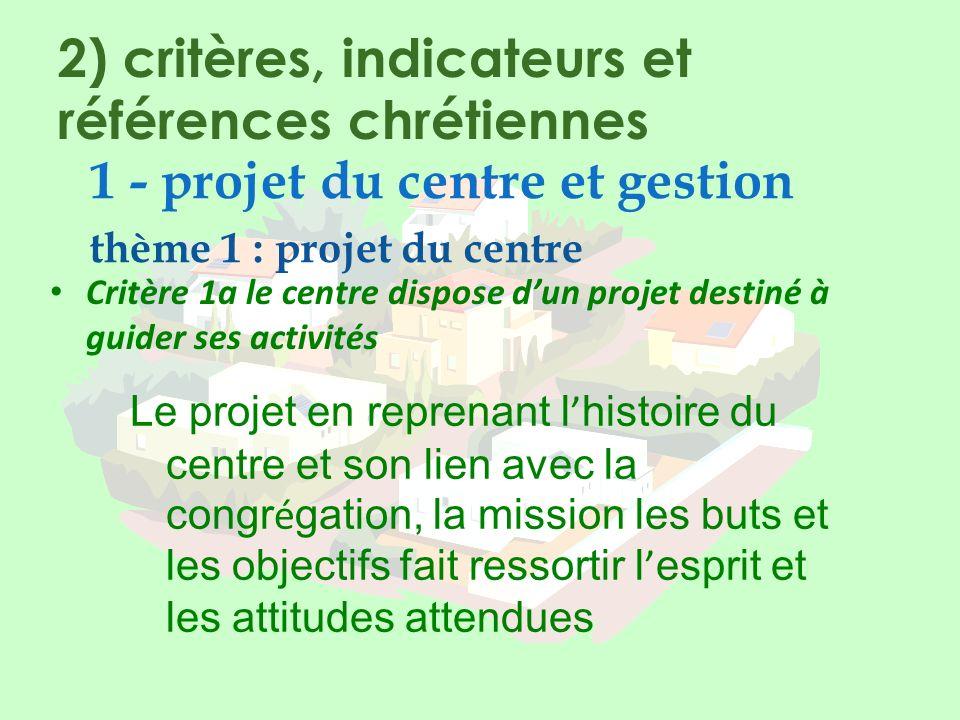 2) critères, indicateurs et références chrétiennes