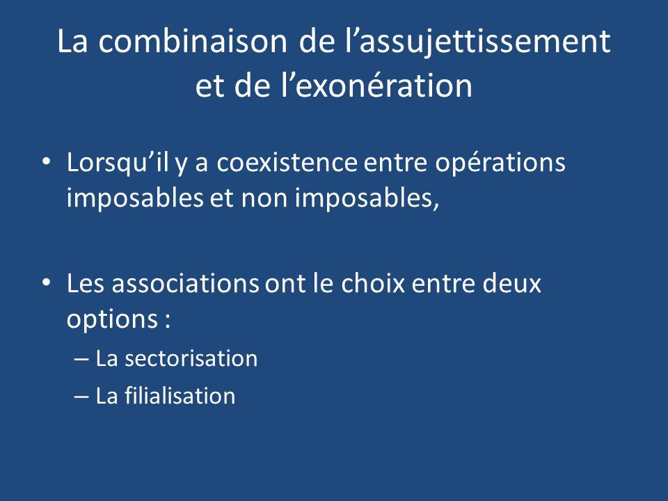 La combinaison de l'assujettissement et de l'exonération