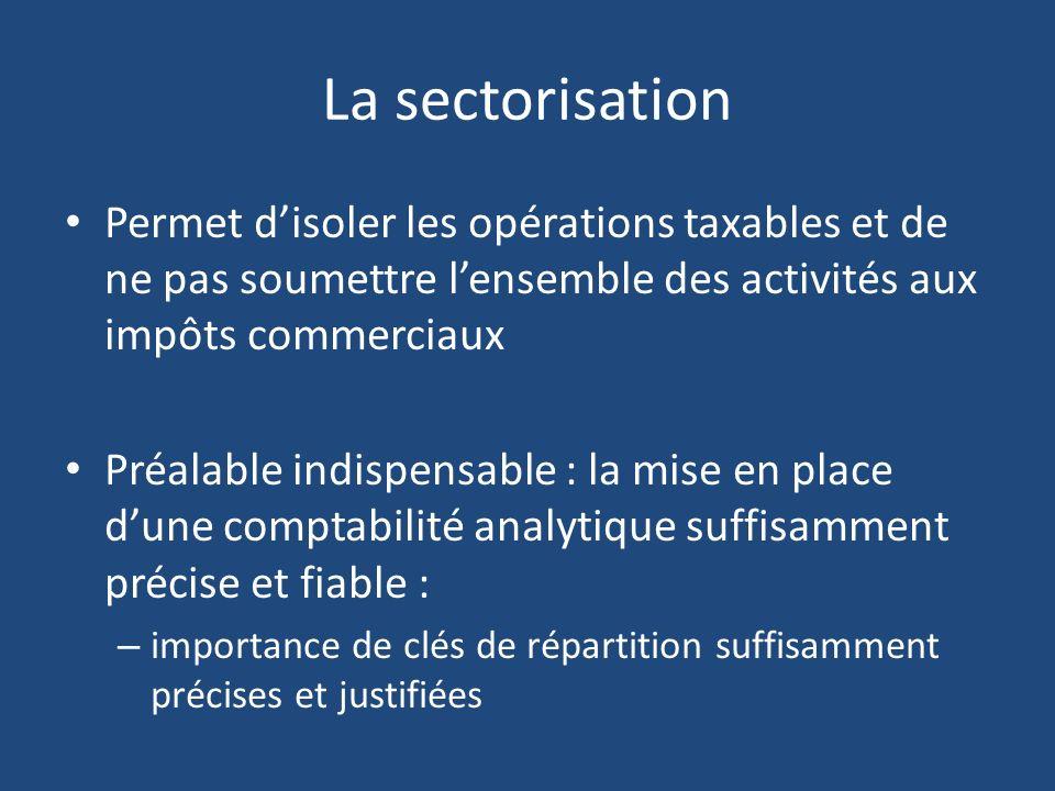 La sectorisation Permet d'isoler les opérations taxables et de ne pas soumettre l'ensemble des activités aux impôts commerciaux.