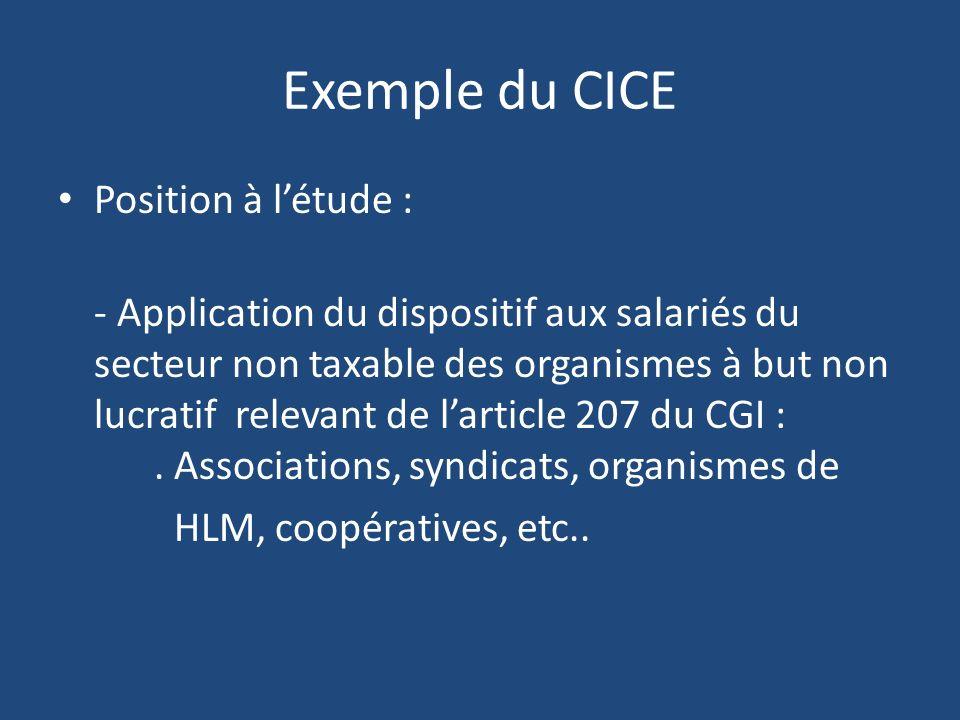 Exemple du CICE Position à l'étude :