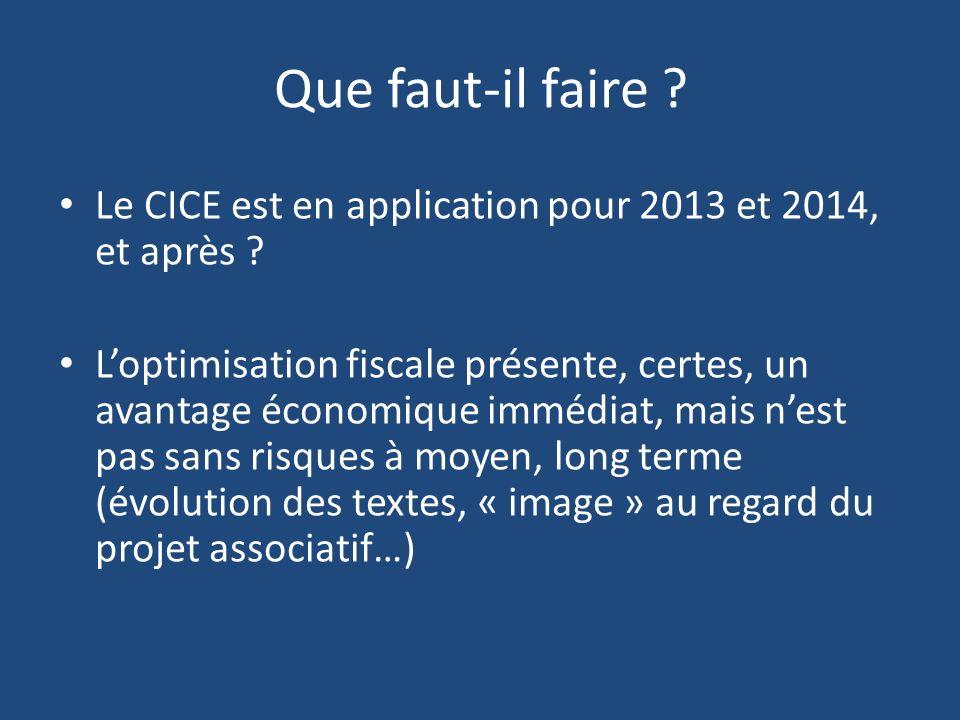 Que faut-il faire Le CICE est en application pour 2013 et 2014, et après