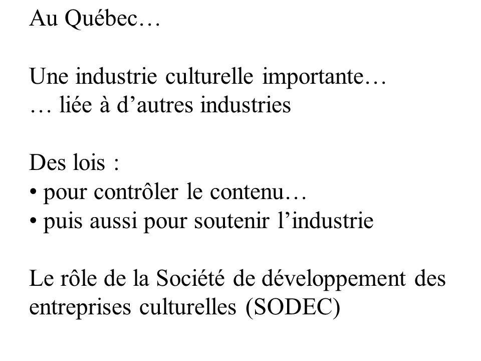Au Québec… Une industrie culturelle importante… … liée à d'autres industries. Des lois : pour contrôler le contenu…