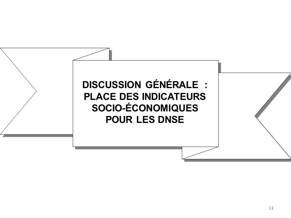 DISCUSSION GÉNÉRALE : PLACE DES INDICATEURS SOCIO-ÉCONOMIQUES POUR LES DNSE
