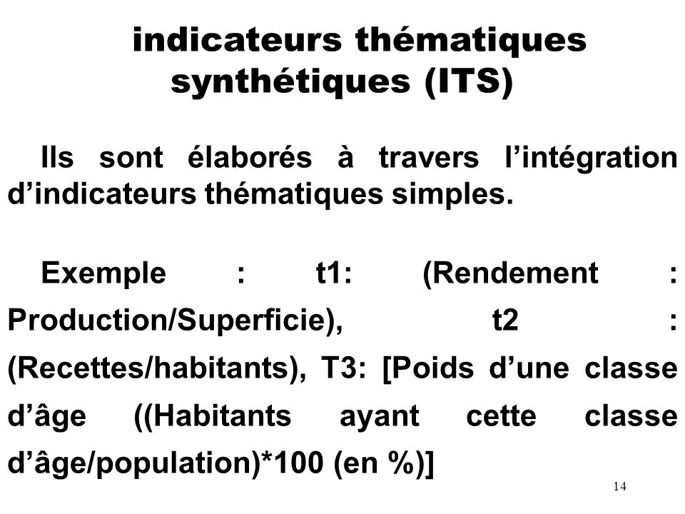 indicateurs thématiques synthétiques (ITS)