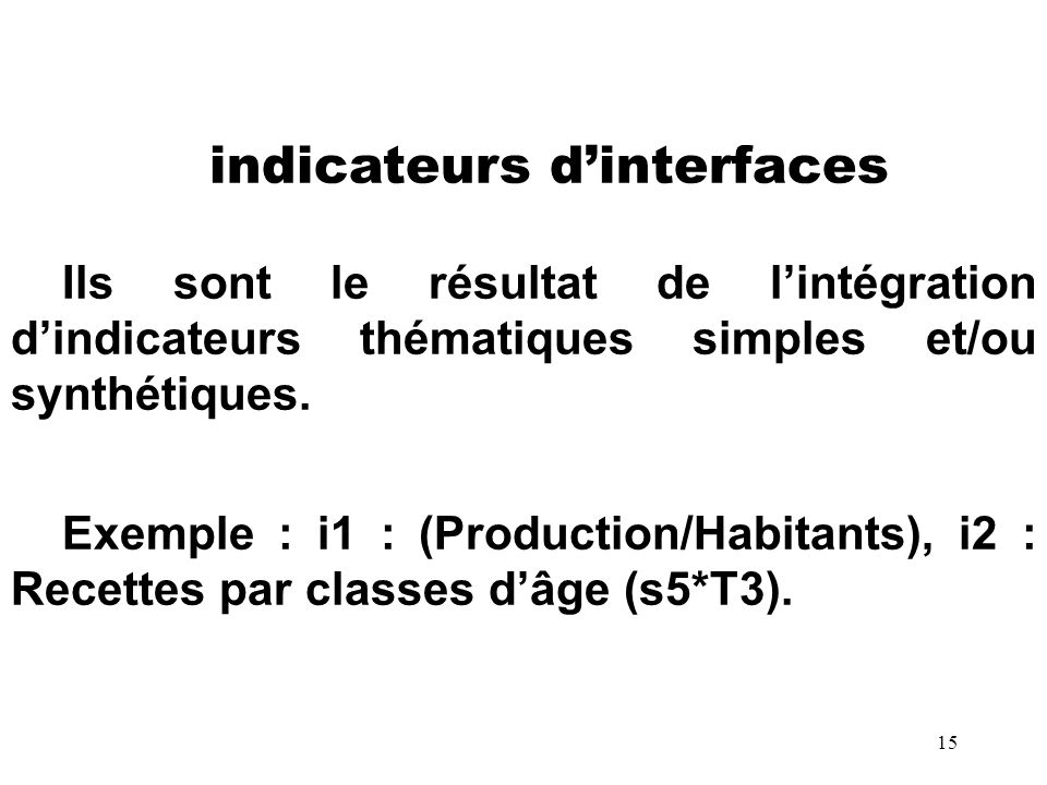 indicateurs d'interfaces