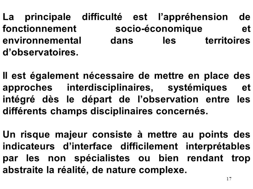 La principale difficulté est l'appréhension de fonctionnement socio-économique et environnemental dans les territoires d'observatoires.
