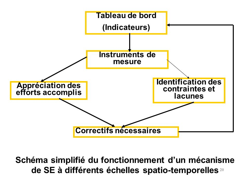 Tableau de bord (Indicateurs) Instruments de mesure. Identification des contraintes et lacunes. Appréciation des efforts accomplis.