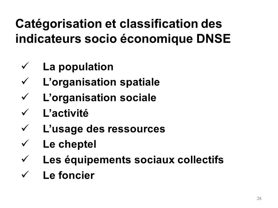 Catégorisation et classification des indicateurs socio économique DNSE
