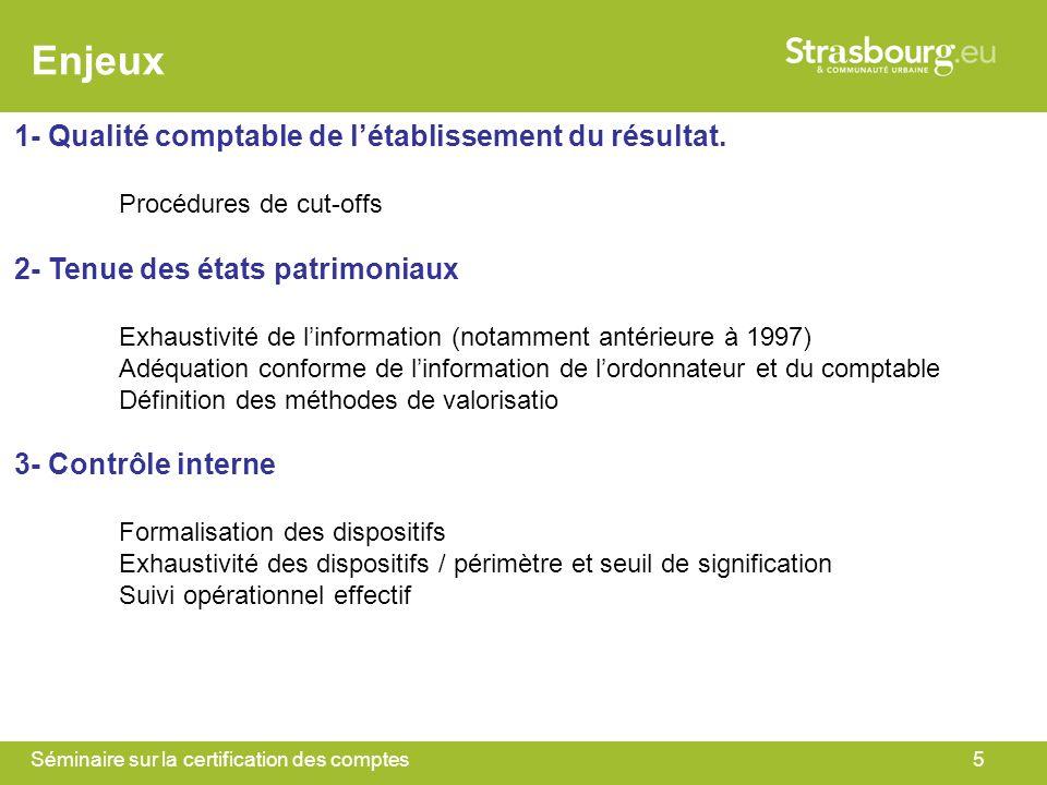 Enjeux 1- Qualité comptable de l'établissement du résultat.