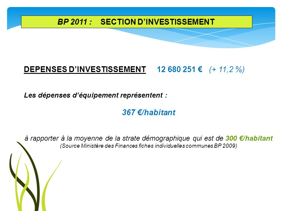 BP 2011 : section d'investissement