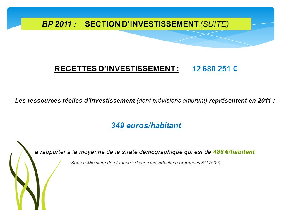 BP 2011 : SECTION d'investissement (suite)
