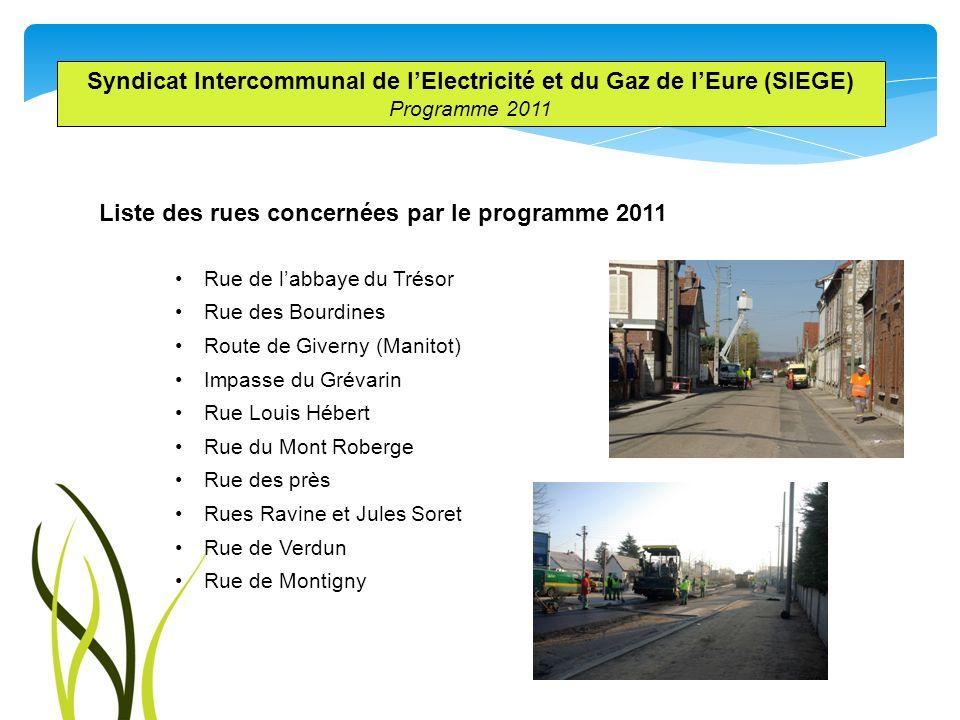Liste des rues concernées par le programme 2011