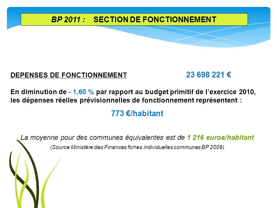 BP 2011 : SECTION DE FONCTIONNEMENT