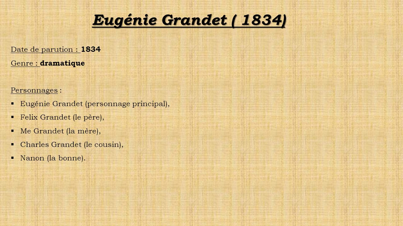 Eugénie Grandet ( 1834) Date de parution : 1834 Genre : dramatique