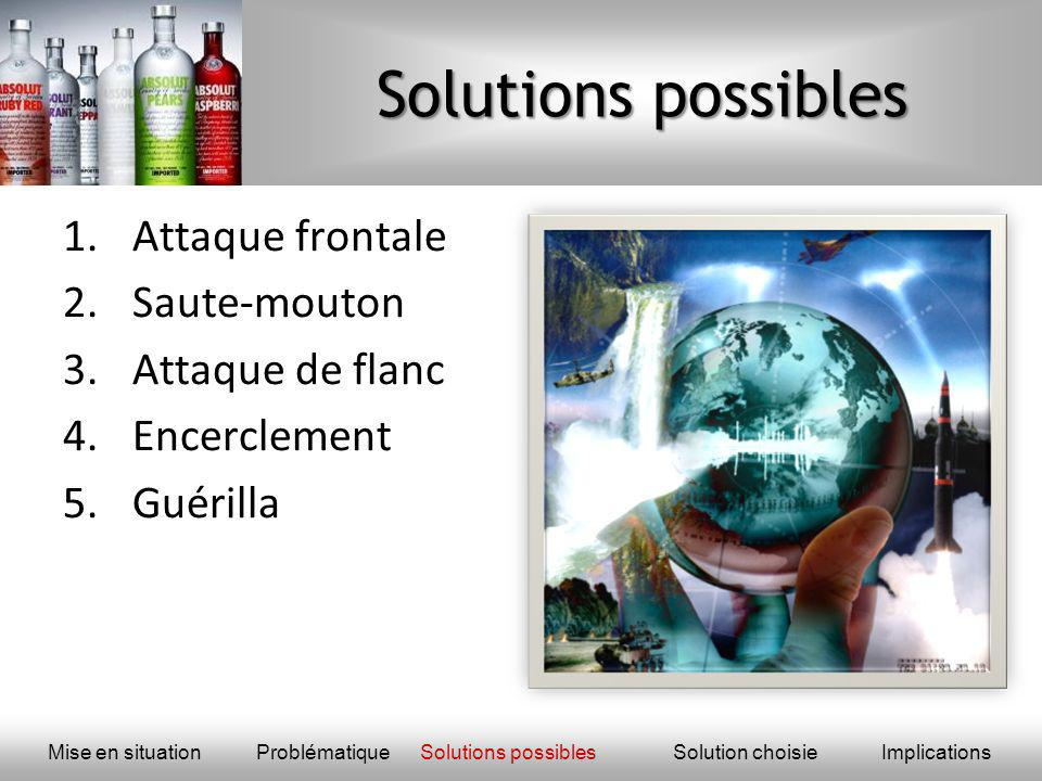 Solutions possibles Attaque frontale Saute-mouton Attaque de flanc